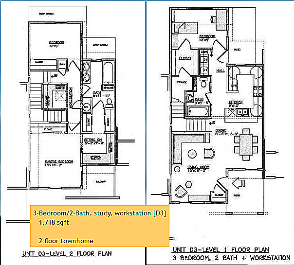 Yulupa Cohousing: Picture of townhome 3 bedroom floorplan