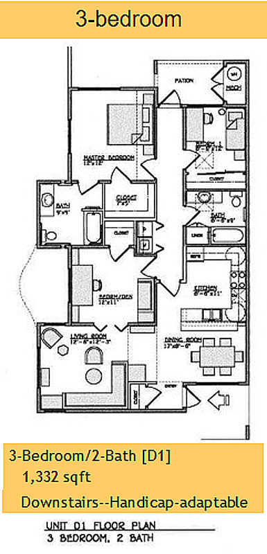 Yulupa Cohousing: 3 bedroom single level floorplan