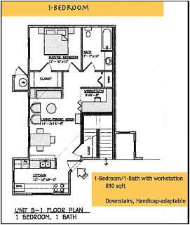 Yulupa Cohousing: 1 bedroom floorplan
