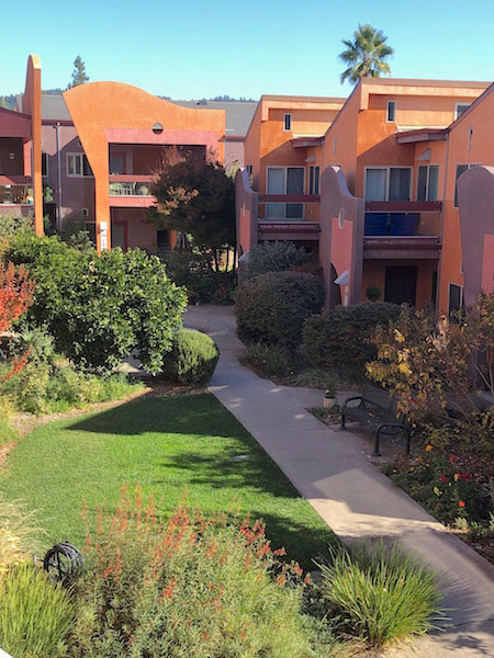 yulupa cohousing: flags over the courtyard